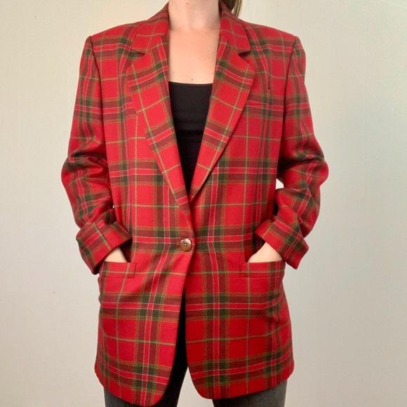 Vintage Jackets & Blazers - VINTAGE Red Plaid Wool Blazer | C13